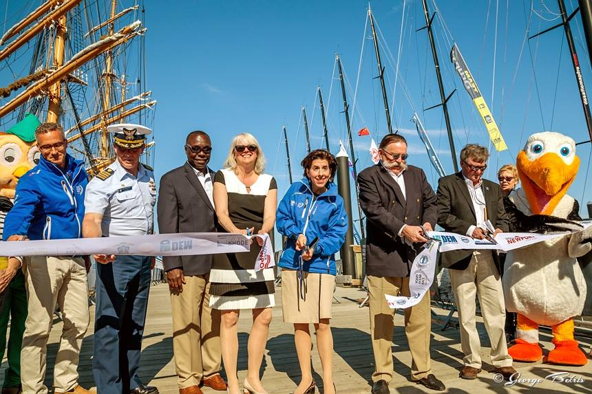 Ribbon cutting for opening of Newport Race Village (Photo © George Bekris)
