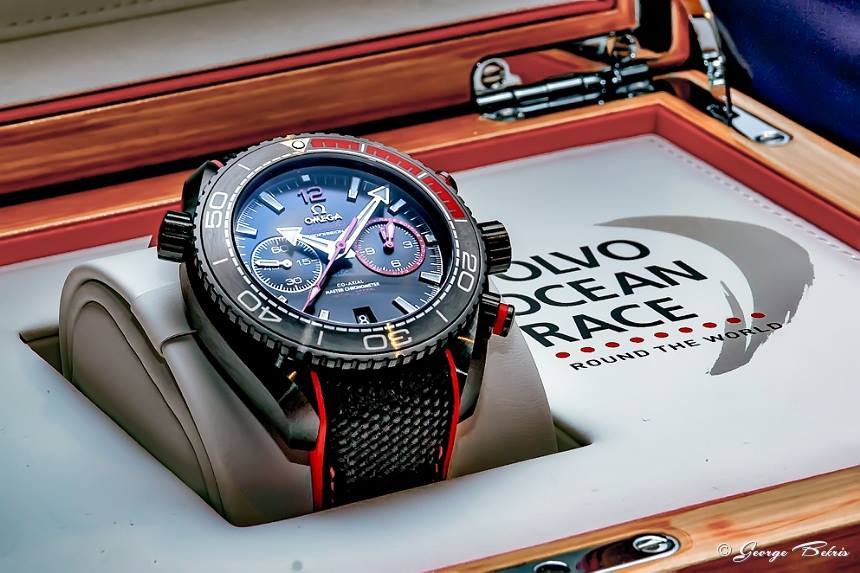 "The Seamaster Planet Ocean Deep Black ""Volvo Ocean Race"" Limited Edition by OMEGA (Photo © George Bekris)"