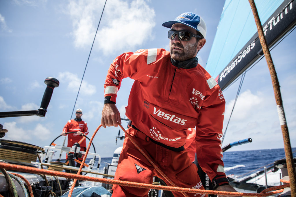 Leg 8 from Itajai to Newport, day 15 on board Vestas 11th Hour. Charlie Enright at the pit before the gybe. 06 May, 2018. (Photo © Martin Keruzore/Volvo Ocean Race)