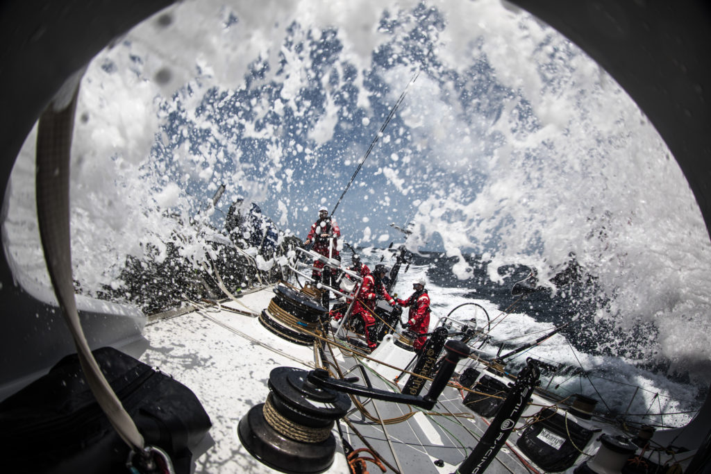 Leg 8 from Itajai to Newport, day 12 on board Sun Hung Kai/Scallywag. Wide angle of sprayed deck. 03 May, 2018. (Photo © Rich Edwards/Volvo Ocean Race)