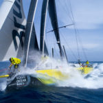 Team Brunel narrowly holding onto their lead as the field tightens up nearing Newport in the Volvo Ocean Race