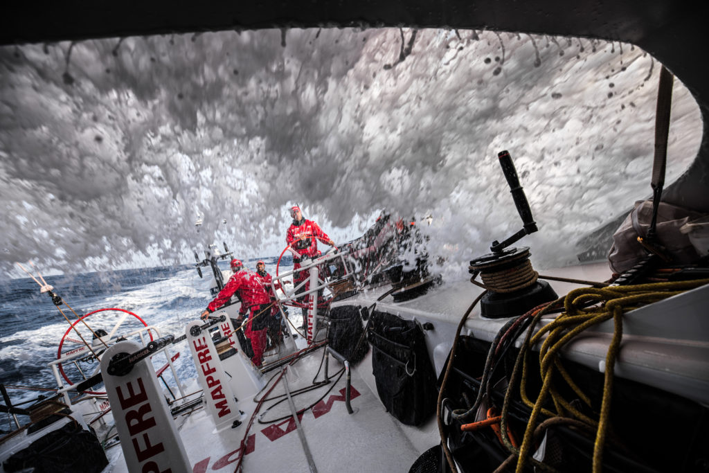 Leg 8 from Itajai to Newport, day 15 on board MAPFRE, back to 20+ kts of boat speed. Rob, Willy, Xabi an Tamara on deck. 06 May, 2018. ( Photo © Ugo Fonolla/Volvo Ocean Race)