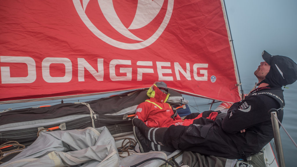 Leg 8 from Itajai to Newport, day 17 on board Dongfeng. 08 May, 2018. Kevin and Marie sleeping at the bow, waiting for the finish. (Photo by Jeremie Lecaudey/Volvo Ocean Race)