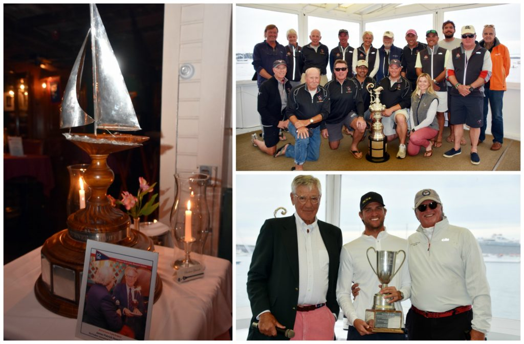 Clockwise from left: Ted Turner Trophy photographed at 12 Metre Yacht Club/Clarke Cooke House; American Eagle team with the 12 Metre North American Trophy; Event Chair Peter Gerard, Alec LeFort and his father Jack LeFort with the Ted Hood Trophy.  (Photo credits: SallyAnne Santos)